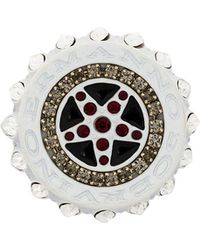 Ermanno Scervino Engraved Brooch - White