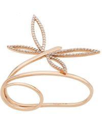 Anapsara 18kt Rose Gold Dragonfly Diamond Double-finger Ring - Metallic