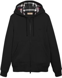 Burberry Check Detail Zipped Hoodie - Black