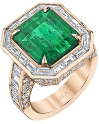 SHAY 18kt Rose Gold Emerald Diamond Border Ring - Pink