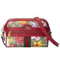 Gucci Мини-сумка Ophidia С Принтом Flora - Красный