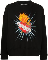 Palm Angels Sacred Heart Print Sweater - Black