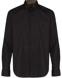 Fendi Ff モノグラム ロゴ シャツ - ブラック