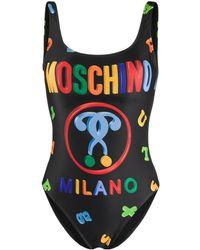 Moschino Badeanzug mit Logo - Schwarz