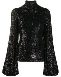 Redemption Sequin Bell Sleeve Top - Black