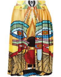 Givenchy Egyptian Print Pleated Skirt - Blue
