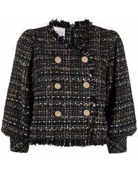 Edward Achour Paris Veste en tweed à franges - Noir
