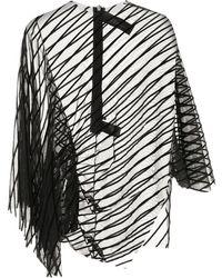 Paula Knorr Velvet-striped Asymmetric Top - Black