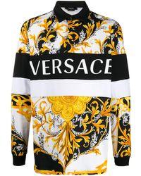 Versace プリント ロングスリーブポロシャツ - ホワイト