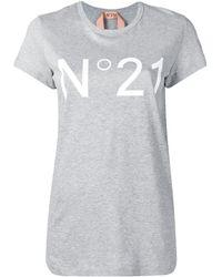 N°21 ロゴプリント Tシャツ - グレー