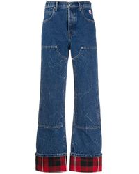 Alexander Wang Checkered-trim High-rise Flared Jeans - Blue