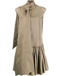 Rochas リボンネック シャツドレス - ブラウン