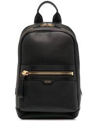Tom Ford Single Strap Leather Backpack - Black