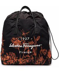 Ferragamo ロゴ フローラル バックパック - ブラック