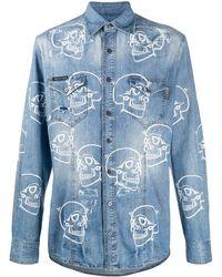 Philipp Plein Skull Print Denim Shirt - Blue
