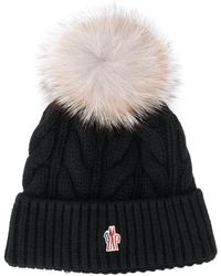 141f43561 Fox Fur Pom Pom Beanie Hat - Black