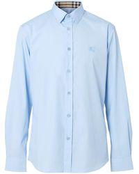 Burberry Ekd-embroidered Shirt - Blue