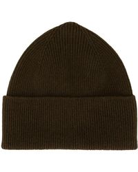 Margaret Howell Ribbed Knit Beanie - Brown