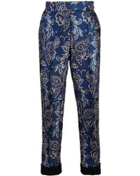 Vera Wang - Grommeted Embroidered Trousers - Lyst