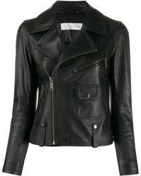 Victoria, Victoria Beckham Cropped Leather Biker Jacket - Black