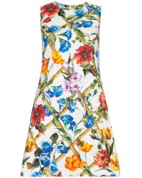 Dolce & Gabbana - Floral Printed Cotton Drill Dress - Lyst