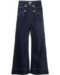 Temperley London Fontana High-rise Wide-leg Cropped Jeans - Blue