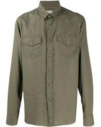 Brunello Cucinelli Рубашка С Длинными Рукавами И Карманами - Зеленый