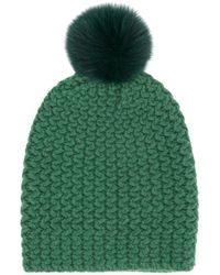 Danielapi Pom-pom Knitted Hat - Green