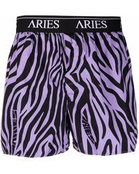 Aries Zebra-print Logo Boxers - Purple