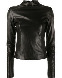 Manokhi Textured Rear Zip Top - Black