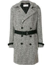 Saint Laurent Belted Graphic Knit Coat - Black