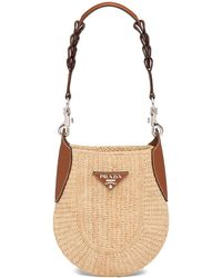 Prada Crocheted Logo Plaque Shoulder Bag - Brown