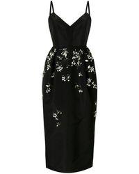 Carolina Herrera Embellished Silk Midi Dress - Black