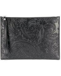 Etro Paisley Embossed Clutch Bag - Black