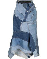 Tom Ford パッチワーク デニムスカート - ブルー