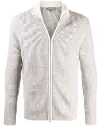 N.Peal Cashmere Gents リブ カーディガン - グレー