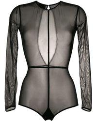 Ann Demeulemeester Long Sleeve Sheer Body - Black