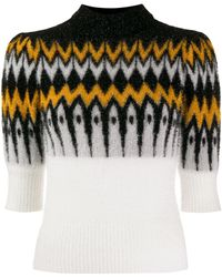 Laneus Contrast Panel Knit Jumper - Black
