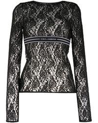 Dolce & Gabbana Кружевной Топ С Длинными Рукавами - Черный