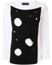 Y's Yohji Yamamoto Cut-out Panel T-shirt - White