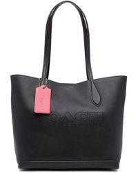 COACH ロゴ ハンドバッグ - ブラック