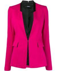 Karl Lagerfeld Приталенный Блейзер Без Лацканов - Розовый