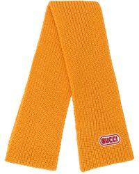 Gucci Écharpe nervurée à patch logo - Orange