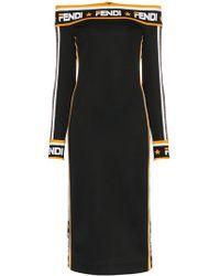 93d8bfbad905 Fendi - Abito Off The Shoulder Logo Trim Midi Dress - Lyst