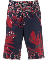 Etro Leaf Print Tailored Shorts - Blue