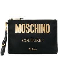 Moschino Clutch Met Logo - Zwart
