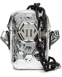 Philipp Plein Logo-embossed Crossbody Bag - Metallic