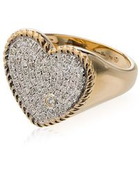 Yvonne Léon Womens Metallic 18k Gold And Diamond Pave Heart Ring