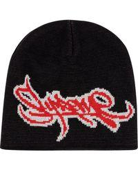 Supreme Tag logo knitted beanie - Schwarz