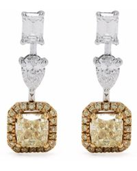 Monan 18kt White Gold Diamond Drop Earrings - Metallic
